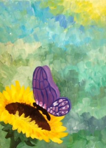 painting_butterflyonsunflower