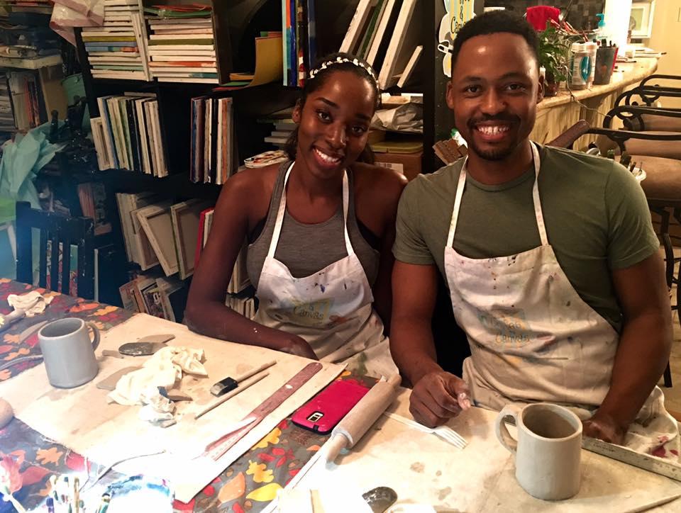 Couple Making Pottery